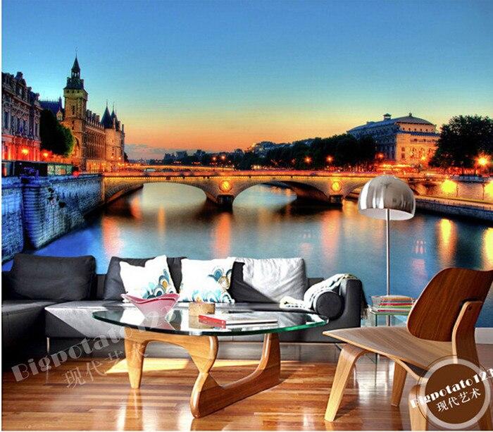 The Latest 3D  Mural,3d Beautiful City Scenery Brilliantly Illuminated Night Bridge ,living Room TV Wall Bedroom Wall Paper