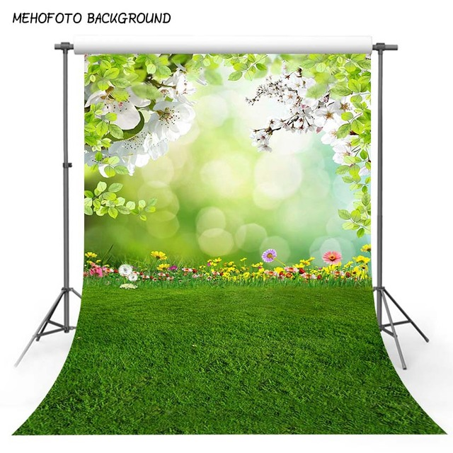 Children Green Grass Photo Background Natural Spring Floral Newborn Photography Backdrops for Photo Studio Photobooth Photocall