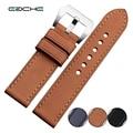 Eache alta calidad hecha a mano de la vendimia de cuero genuino reloj de la correa 22mm 24mm con plata mate hardware