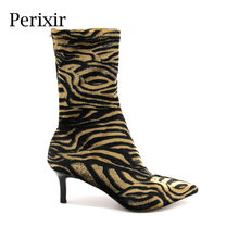 Perixir 2018 Women Ankle Boots Sexy Flock High Heels Point Toe Leopard Fine Heel New Winter Ladies Short Shoes Riding Size 36-41(China)