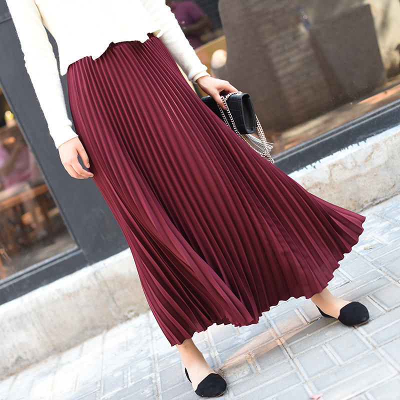 Spring Women Skirt Vintage Long Skirt Saias High Waist Women Maxi Skirt Saia Longa Falda Pleated Skirt Jupe