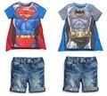 NewSummer Meninos Superman Batman T-shirt Manto Denim Jeans Shorts Calças Do Bebê Terno infantil Roupas de Criança Crianças Set 0037