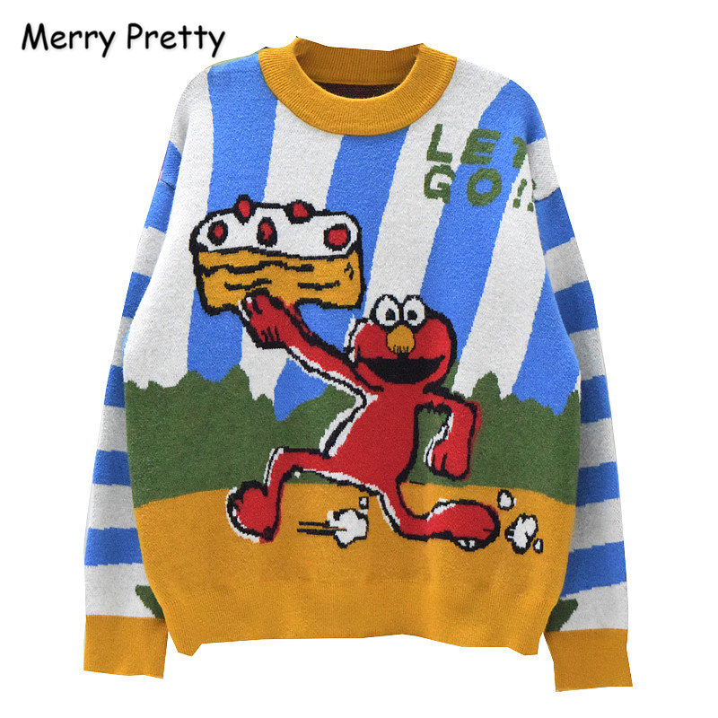 Women Cartoon Print Contrast Color Sweaters Winter Long Sleeve O-Neck Knitted Pullovers Femme Sesame Street Harajuku Sweater