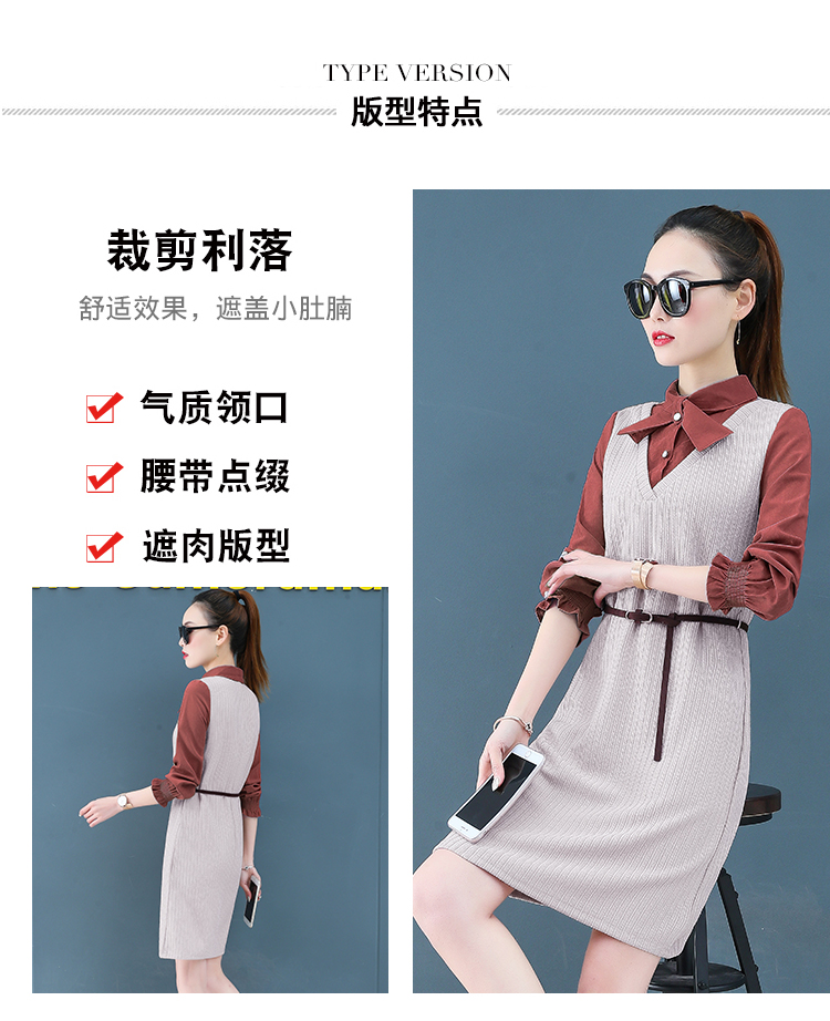 Render a dress in female new spring in the spring and autumn qiu dong fake two piece suit dress long 7