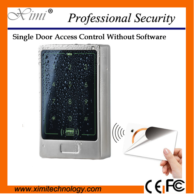 Face waterproof with keyboard proximity MF 13.56mhz card reader without software single door lock M13B access control low cost m07e access control kit without software waterproof card reader card access control device with magnetic lock