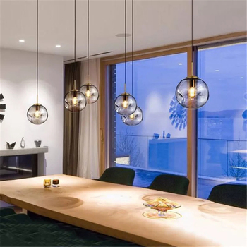 Smokey Grey Amber Glass Pendant Lights Led Hanging Lamp Bedroom Restaurant Office Bar Lighting Suspension Luminaire Luminaria