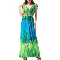 Vestidos Mujer Verano 2017 Women Summer Holiday Long Beach Dress V Neck Sleeveless Floor Length Big