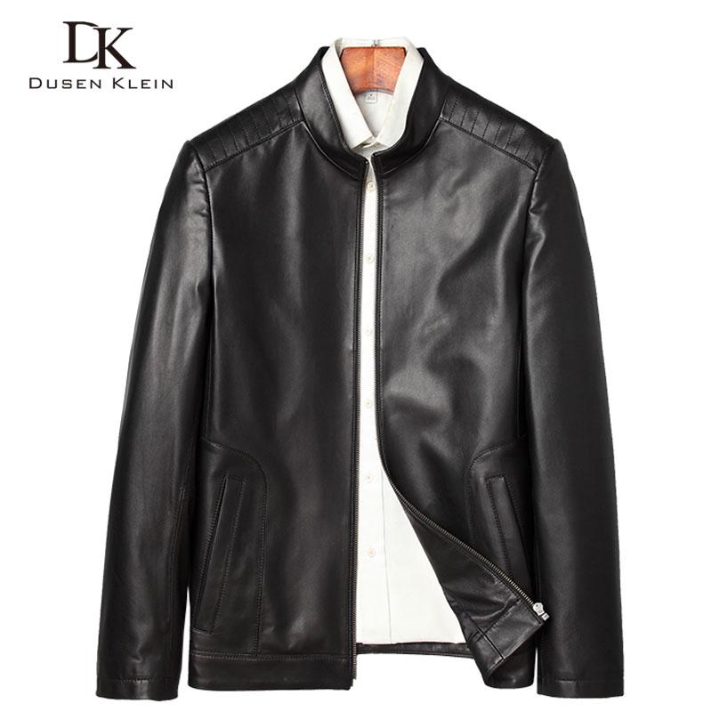Men Genuine Leather Jacket Real Sheepskin Jakcets Casual Short Black Stand Collar Pockets 2019 Spring Jacket For Man J7865