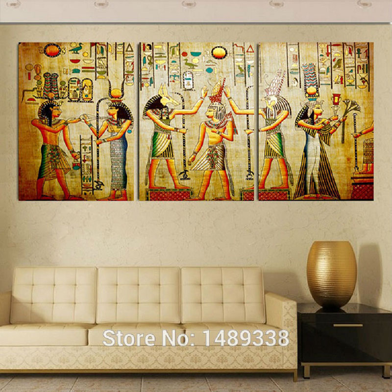 Canvas painting triple abstract picture egyptian mural for Egyptian mural painting