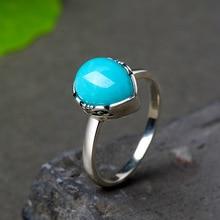 Аутентичное Стерлинговое Серебро 925 Кольцо дизайнерское ювелирное изделие капли воды кольца с бирюзой для женщин натуральный камень ювелирные изделия