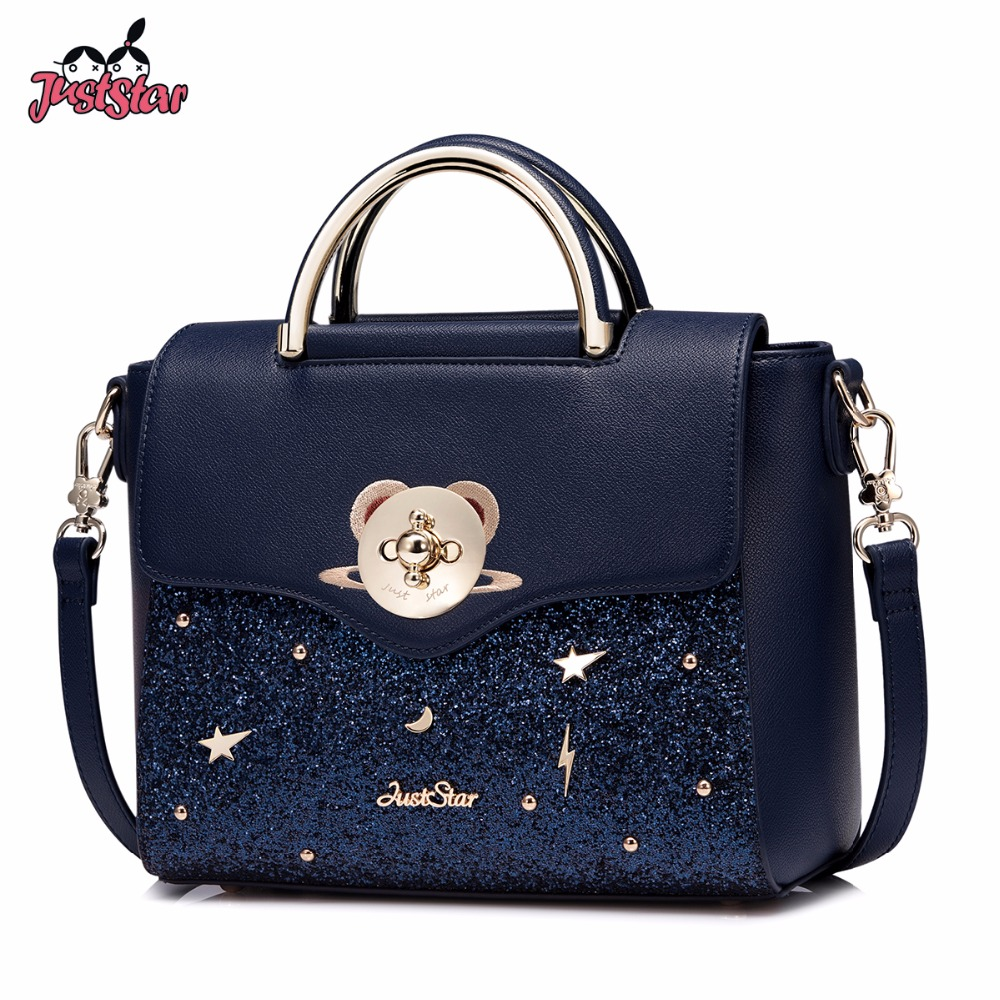 Just Star Women S Pu Leather Handbags Las Embroidery Planet Tote Bag Female Cartoon Bear Lock Messenger Bags High Quality In Top Handle From Luggage