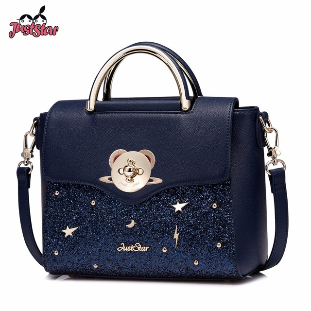 Just Star Women S Pu Leather Handbags Las Embroidery Planet Tote Bag Female Cartoon Bear Lock Messenger