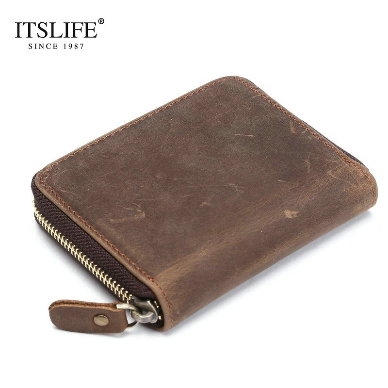 Top quality cow crazy horse genuine leather men zipper around wallet short cowhide bifold coin purse with button vintage style crazy horse leather men wallet slim vintage genuine leather long purse cowhide bifold wallets with coin pocket and card holders