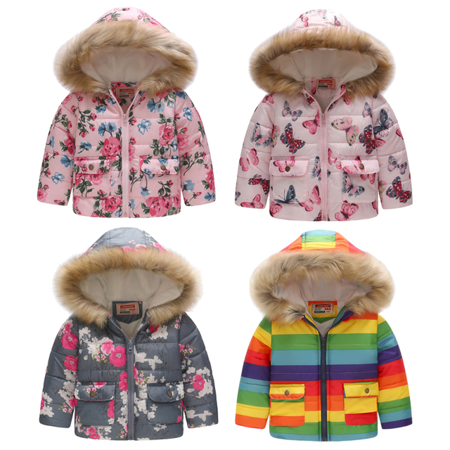 d4571dd6f Kids Winter Jackets For Girls New Fashion Printed Thick Fleece Warm Children  Clothes Fur Hooded Outerwear Girls Parkas Coats