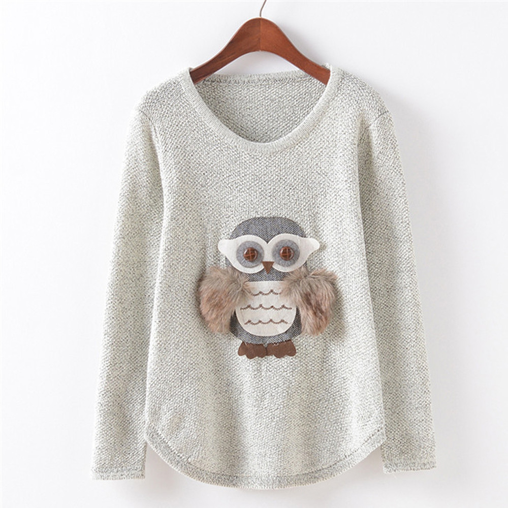 2017 New Women Autumn Winter Long Sleeve Knitted Jumper Ladies Fashion Cute Owl Pattern Loose Sweaters Pullover Bottoming Blouse