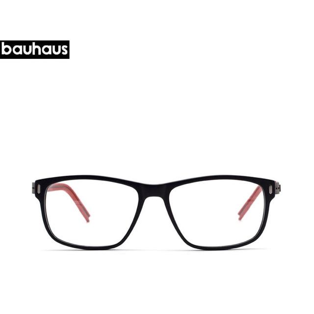 Bauhaus Marque ITALIE Qualité En Verre Classique et Simple Conception ROUGE  Temple Lunettes Femmes Noir Optique fe2aa4e6e4ea