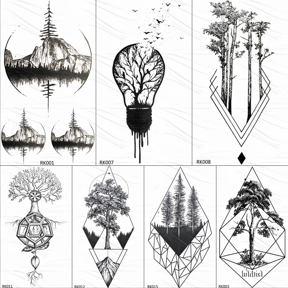 OMMGO Bulb Pine Tree Geometric Temporary Tattoos Sticker Diamond Round Custom Tattoo Body Art Fake Tatoos Black Small Forest