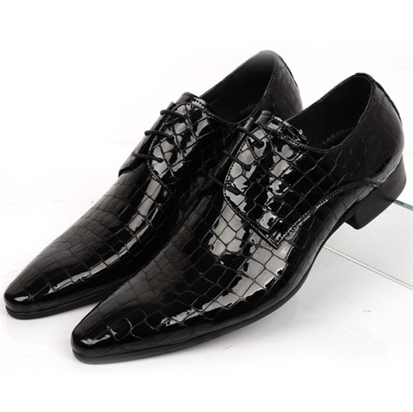 Large size EUR45 Serpentine fashion black / blue business shoes men dress shoes patent leather mens wedding shoes casual waterproof boot silicone shoes cover w reflective tape for men black eur size 44 pair
