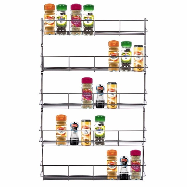 1 Piece 5 Tiers Spicy Shelf Spice Rack Shelf Organizer Wall Mounted Racks