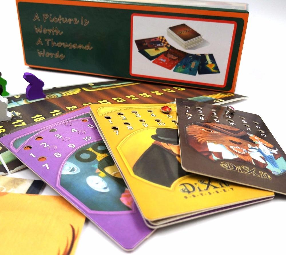 Tarjetas juego dixit 1 + 2 + 3 + 4 + 5 + 6 + 7 + 8 para el hogar partido inglés y ruso reglas juego