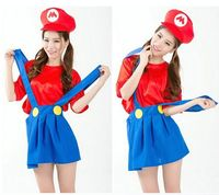 free girls party Cosplay clothes school uniform red costume adult women super Mario and Louis carnival skirt,hat T-shirt