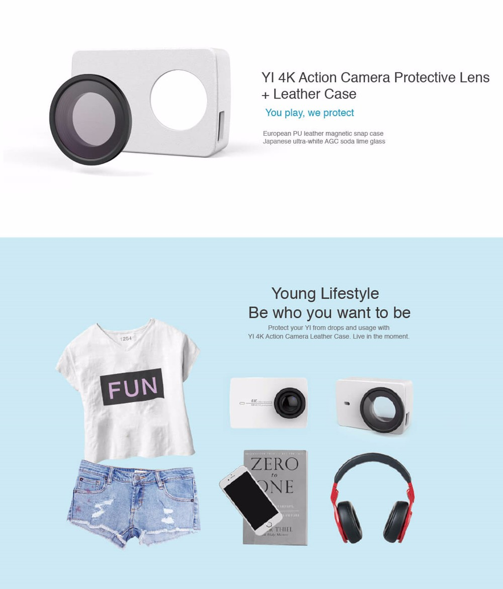 YI 4K Action Camera Protective Lens and Leather case 11
