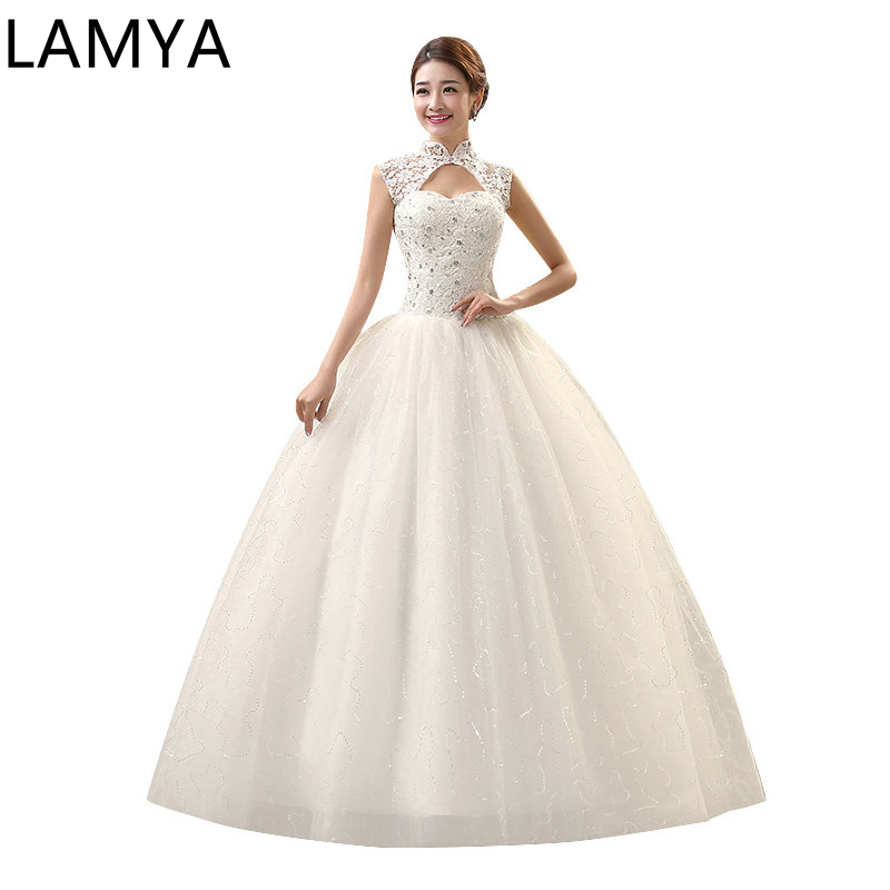 Vintage Wed Dress Unique High Neck Design Shining Sequined Lace Up Plus Suze Wedding Dress Ball Gown Wedding Dresses 201