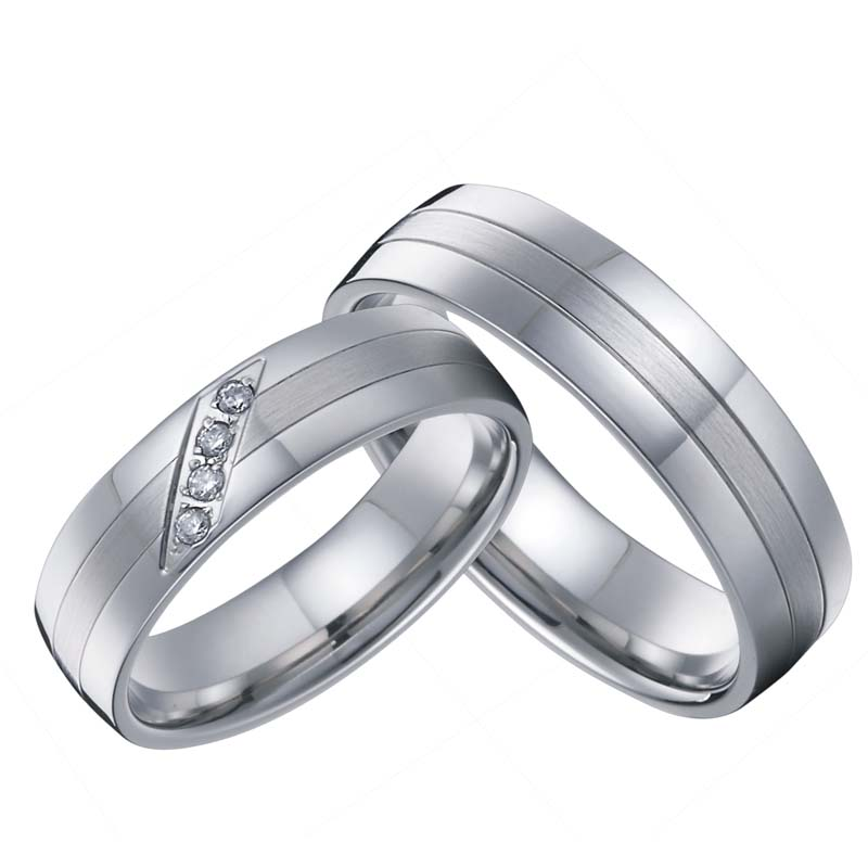 1 pair male female love silver white gold color western titanium couple engagement wedding band rings sets for men and women in rings from jewelry - White Gold Wedding Ring
