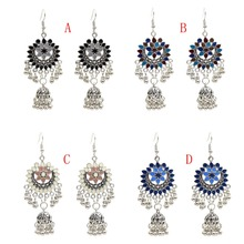 AmazingTurkish India Style Color Metal Hollow Flower Drop Fringe Earrings Tribal Afghan Jewelry Ethnic Jhumka Egypt