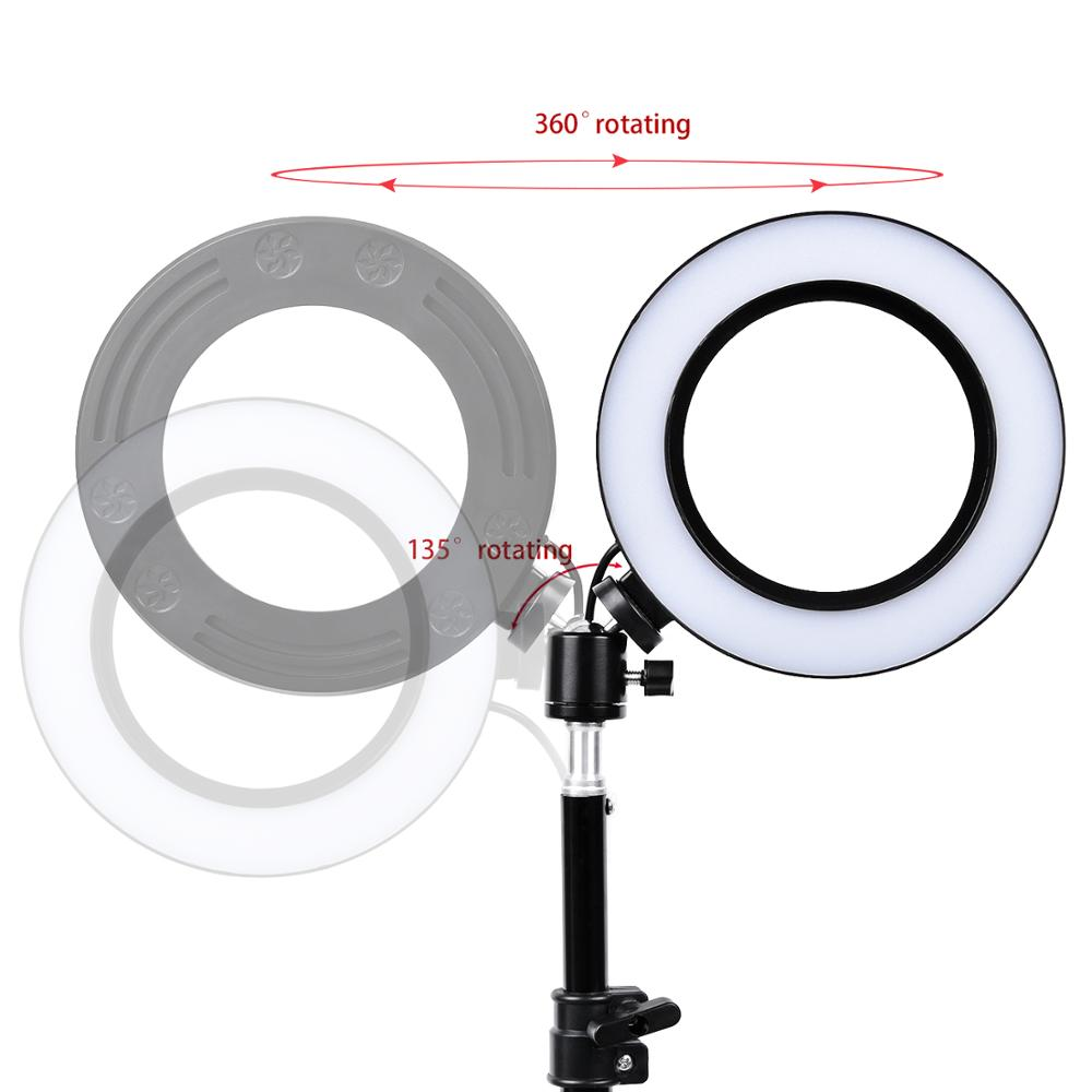Image 3 - fusitu 10 inch 26cm Dimmable Led Ring Light with Tripod Stand Phone Holder Clip LED Desktop Lamp For YouTube Live Makeup Camera-in Photographic Lighting from Consumer Electronics