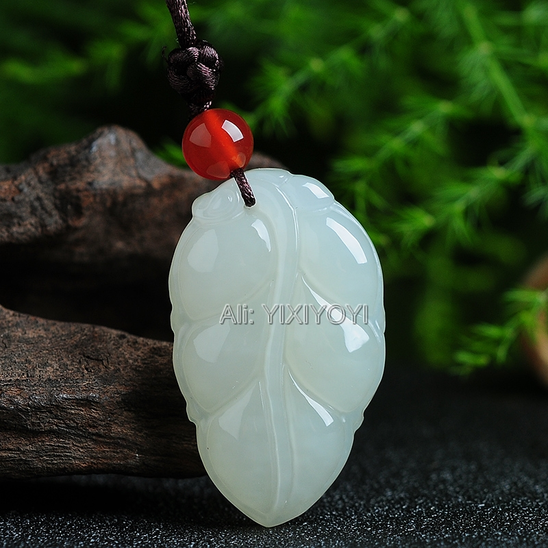 Beautiful Natural White HeTian Jade Carved Chinese Tree Leaf Style Amulet Lucky Pendant + Free Necklace Certificate Fine JewelryBeautiful Natural White HeTian Jade Carved Chinese Tree Leaf Style Amulet Lucky Pendant + Free Necklace Certificate Fine Jewelry