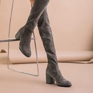 Image 5 - BeauToday sur le genou bottes femmes enfant daim cuir Stretch tissu haut talon qualité dame hiver bottes longues à la main 01011