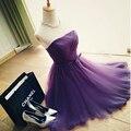 Pretty Short purple Bridesmaid Dresses 2016 Sheer Scoop A-Line Tulle Wedding Party Dresses Maid of Honor Vestidos De Noiva