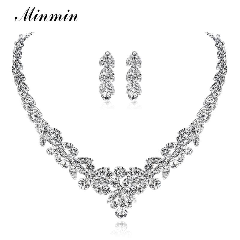 Minmin Crystal Leaf Wedding Jewelry Sets for Women Prom Bridal Necklace Earrings
