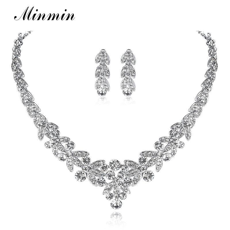 Minmin Crystal Leaf Wedding Jewelry Sets for