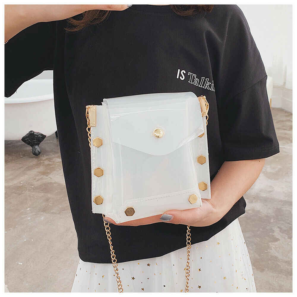 2019 Baru Fashion Pakaian Sesuai dengan Berbagai Kesempatan Wanita Mini Plastik PVC Transparan Cross Tubuh Tahan Lama Musim Panas Tas Bahu