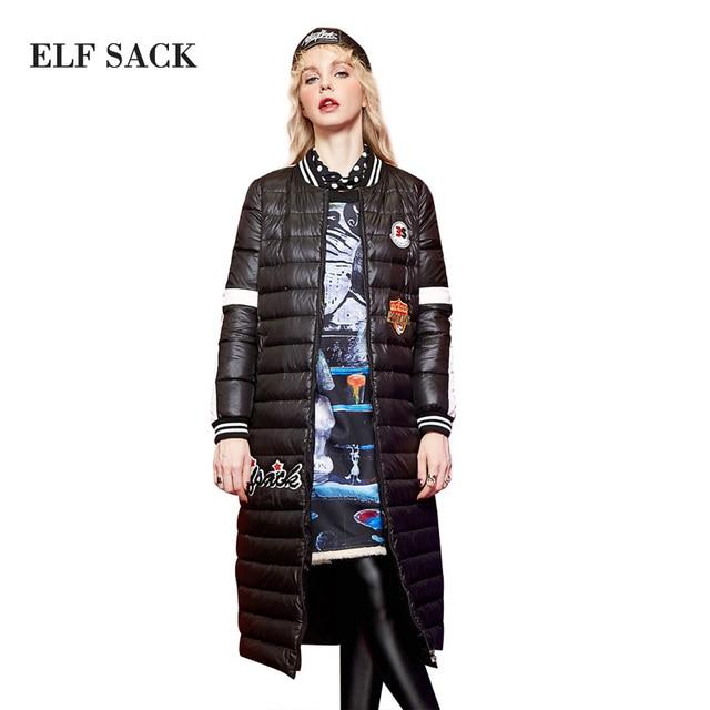 ELF SACK Зима Женщины Вниз Пальто Мода Письмо Печати Граффити Длинный Верхняя Одежда С Длинным Рукавом Полосы Аппликации Вниз Пальто
