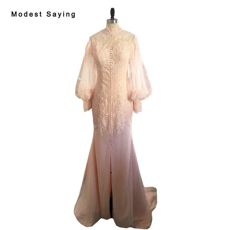 Real Elegant Split Mermaid High Neck Puff Long Sleeve Beaded Lace font b Wedding b font