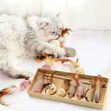 7 sets of cat toy with bell feathers wooden poles sticks and various pet training toys to keep cats from being bored
