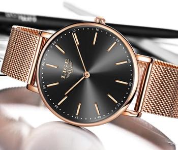 2020 LIGE New Rose Gold Women Watch Business Quartz Watch Ladies Top Brand Luxury Female Wrist Watch Girl Clock Relogio Feminin 4