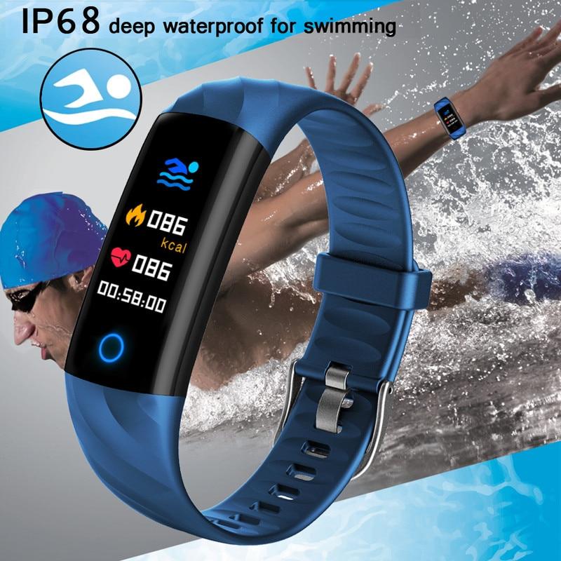 Rastreador de Fitness Ip68 à Prova Banda Inteligente Água Pulseira Bluetooth Pressão Arterial Coração Tela Colorida Dip68