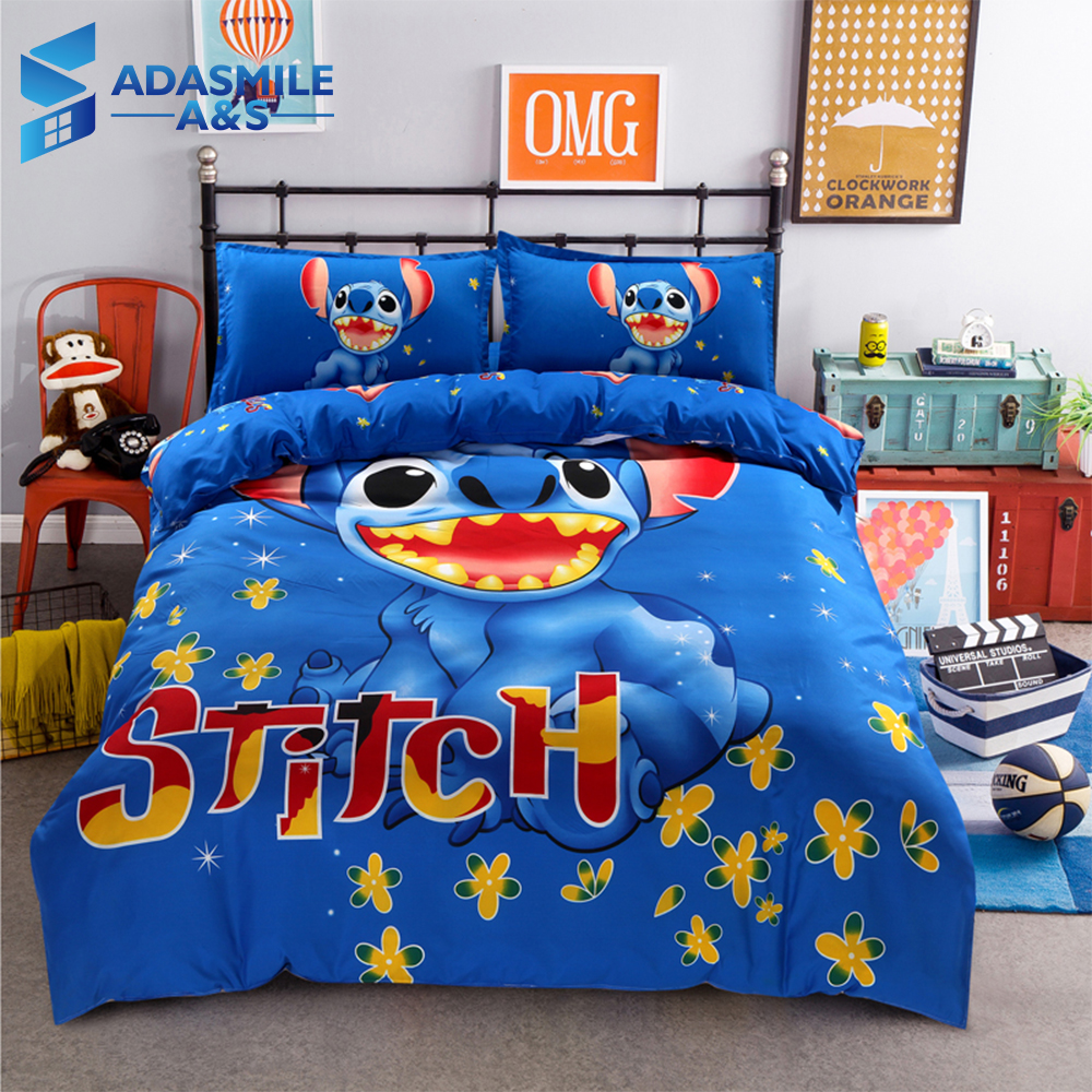 Disney Stitch Boys Bedding Sets Twin Queen Cartoon Quilt Cover Pillowcase Sheet Blue Bed Linen Duvet Cover Set For Children Bed