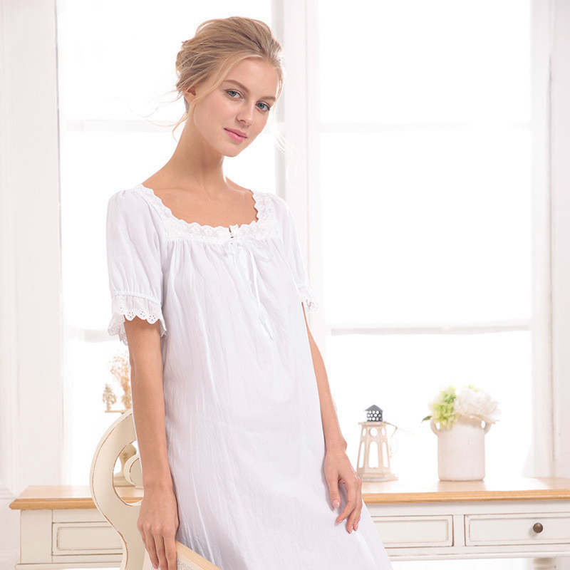 white/gray 2018 Brand Comfy Sleep Lounge Women Sleepwear Cotton Long Nightgown Sexy Home Dress Lady Elegant Nightdress Plus Size 1