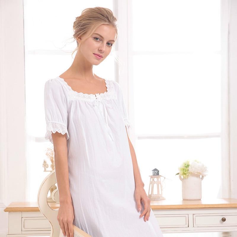 white/gray 2018 Brand Comfy Sleep Lounge Women Sleepwear Cotton Long Nightgown Sexy Home Dress Lady Elegant Nightdress Plus Size 1
