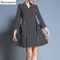 Autumn Dress V Neck Three Quarter Flare Sleeve Lip Lipstick Ornament A Line Women Clothes Spring