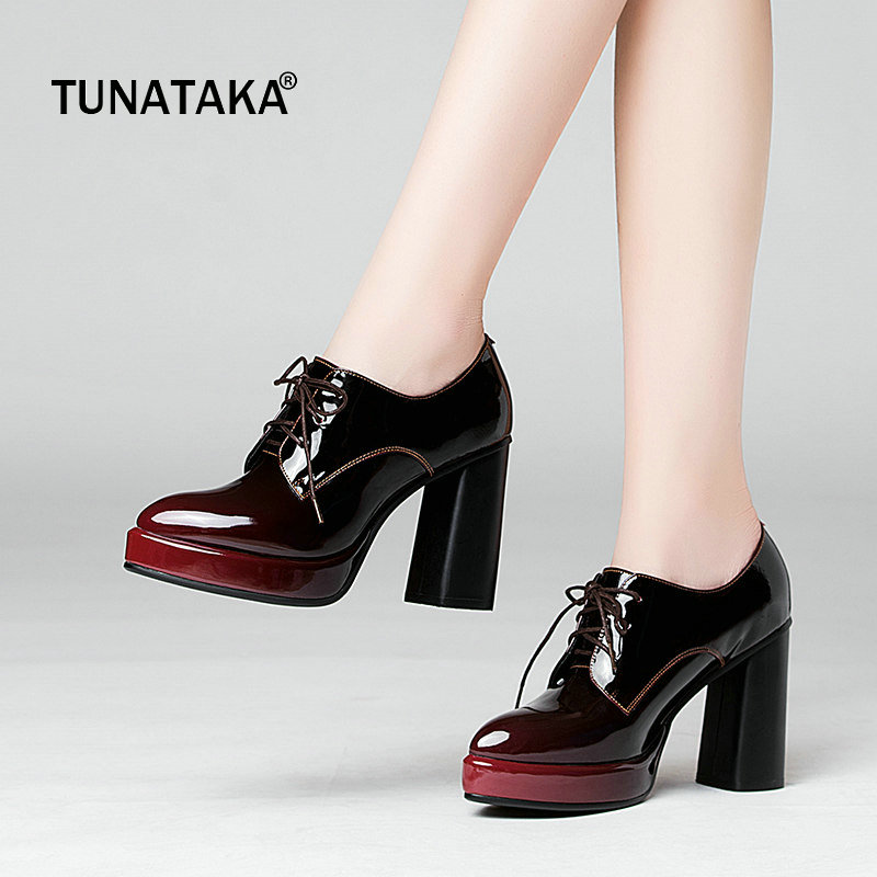 Genuine Leather Platform Square High Heel Pointed Toe Woman Pumps Fashion Lace Up Dress Shoes Woman Black Wine Red
