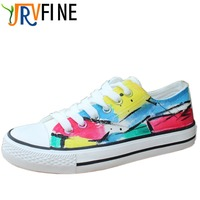 YJR Classic Comfortable Rainbow Gradient Girl Shoe Hand Painted Beard Canvas Shoes Girl Outdoor Walking Graffiti