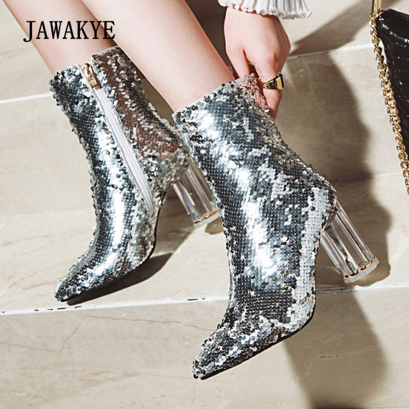 2019 Bling Bling Ankle Boots WOMAN Pointed Toe Gold Silver Blue Sequined Crystal Transparent High Heel Boots Women Party Shoes 2019 Bling Bling Ankle Boots WOMAN Pointed Toe Gold Silver Blue Sequined Crystal Transparent High Heel Boots Women Party Shoes