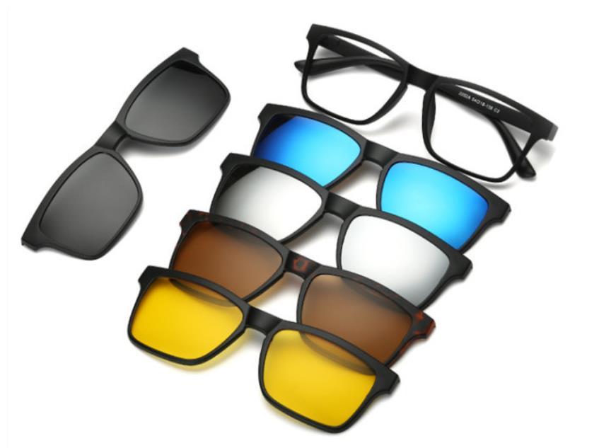 5pc/set Magnetic Clip Sunglasses Women Glasses With Magnetic Clip On Sunglasses Polarized Male Multi-Purpose Eyewear