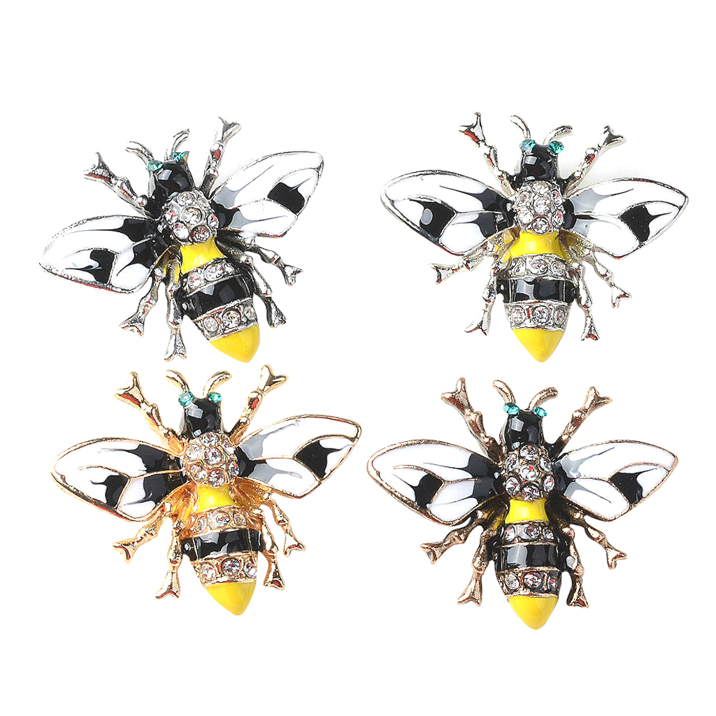 4x Pearl Metal Insect Decorative Buttons Flatback Rhinestone Embellishments